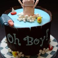 OH BOY! Bathtub and Rubber Ducky themed baby shower cake and cupcakes