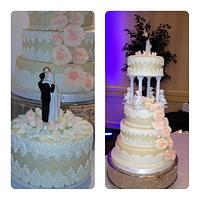 4 Tier wedding cake with fondant pearls. lace and champagne sugar roses