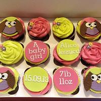 New baby girl owl cupcakes