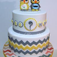 Guess Whoo Gender Reveal Cake