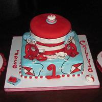 Dr. Suess Cat in the Hat with Thing 1 and Thing 2 Smash Cakes