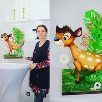 Bambi carved cake