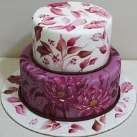 Hand painted cake with flowers