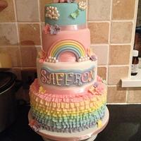 Rainbow ruffle my little pony cake for my daughter