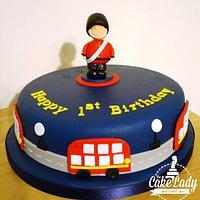 London themed 1st birthday cake
