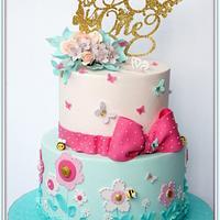 Pink & Teal Butterfly Garden Cake