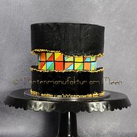 Fault Line Cake with black Buttercream