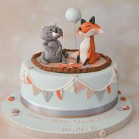 Fox and Raccoon christening cake