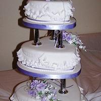 3 tier Traditional Wedding cake with garrett frills & sugar roses