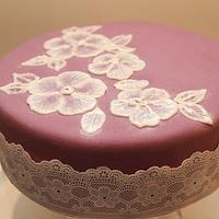 My first Brush Embroidery Cake