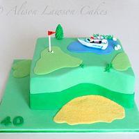Golf Loving Speed Boat Cake