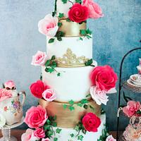 Elegant Gold with Popping Pink Roses!