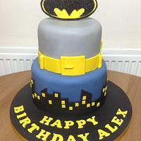 Batman Cake with Bat Signal!