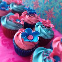 Vivid pinks and blues