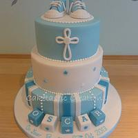 baby Boys Christening cake with baby boots