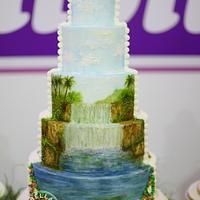 Tropical Waterfall Cake
