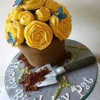 Yellow Rose flower pot