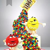 M & M's Brother and Sister Birthday Cake