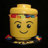 Lego Head Cake by Custom Cake Designs