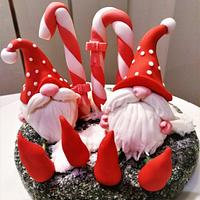 Birthday cake topper - Gnomes of the mushrooms