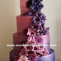 Purple Ombre cake by Kara