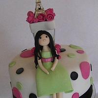 Paris themed birthday cake and cupcakes