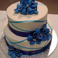 Iris sugar flower birthday cake