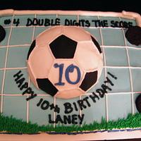 Soccer themed birthday cake