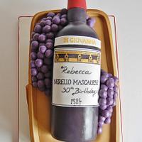 Wine Bottle in a Basket Cake