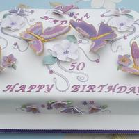 Pastel & Gold Butterflies 50th Birthday cake