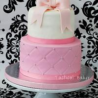 pink quilted fondant cake