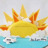 Sunshine theme Half year birthday cake for girl