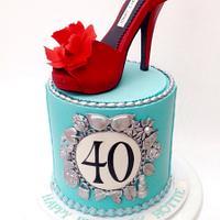 Tiffany charm inspired cake with gumpaste shoe