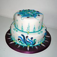 Peacock Inspired Cake