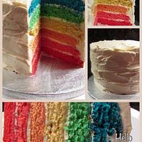 Rainbow cake 1st attempt :)