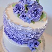 Purple ruffles, roses & pearls