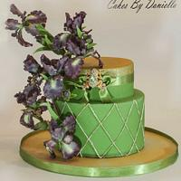 Simple cake with irises