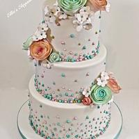 Aqua and pink floral wedding cake