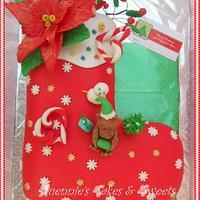 Christmas- Stocking Fondant Cake