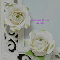 Ageing white roses