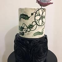 Ruffle cake with painted dream catcher
