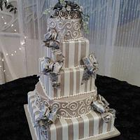 Square Plum Wedding Cake