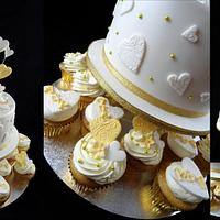 Gold themed Engagement Cupcake Tower