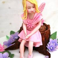 Flower Fairy Christening Cake by BakedByBecky