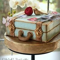 Suitcase Cake with White Orchids