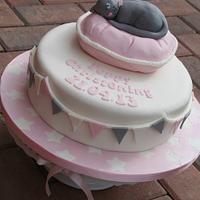 Poppy Cat Christening Cake