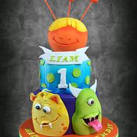 1st Birthday Monster theme cake