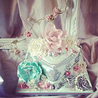 Aqua, pink and silver birthday cake