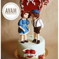Valentine paperdolls lovers cake
