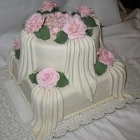 Roses & Drapes Bridal Shower Cake
